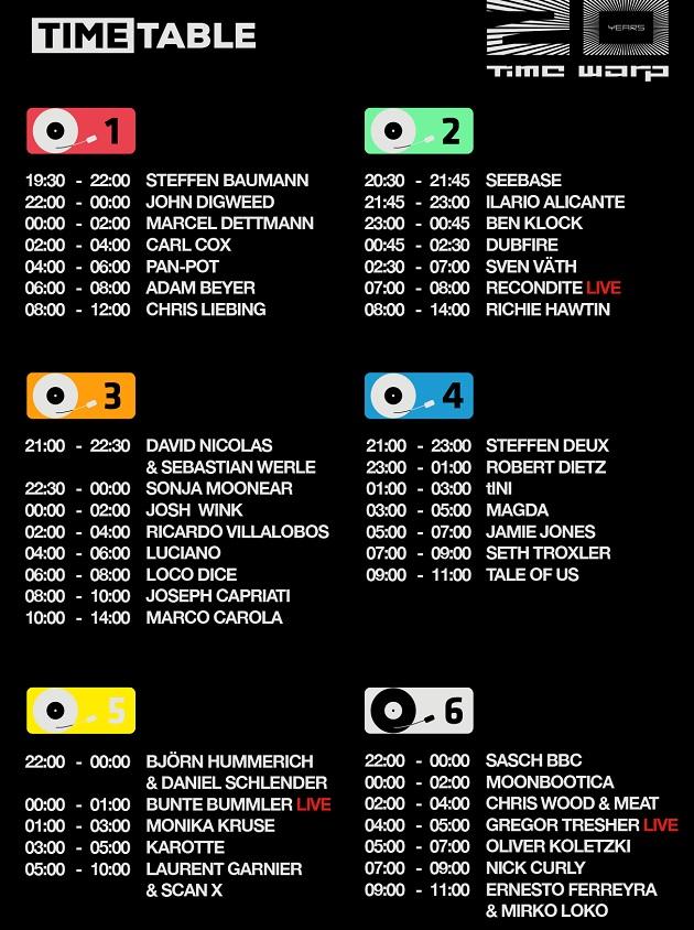 Time warp timetable